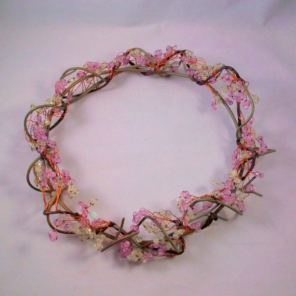 PartyLite Dew Drop Beaded Candle Ring Wreath